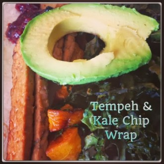 Easy Quick Vegan Recipe Tempeh and Kale Chip Wrap